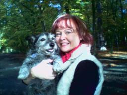 Karen in Thorndon Park with her dog Gypsy