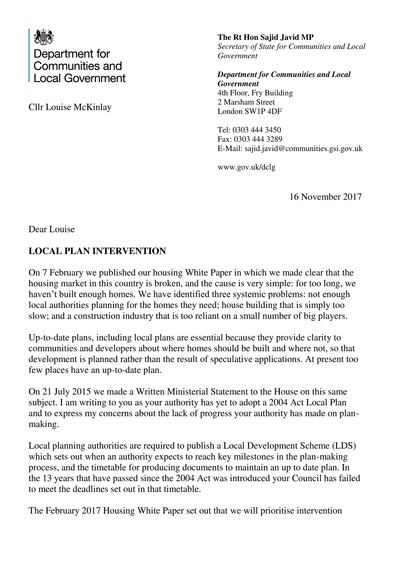 LOCAL PLAN INTERVENTION (16 November 2017) *Page 1of2