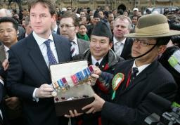 Nick Clegg presented with Gurkha medals [Picture: Alex Folkes / fishnik.com]