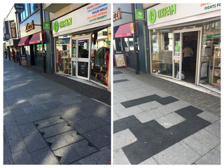 Trip hazard pavement is repaired, Call for paving stones heeded - Brentwood High Street