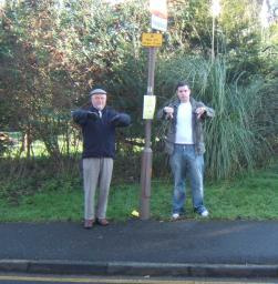 Brentwood North councillor Reg Straw and candidate Ross Carter give the development the thumbs down