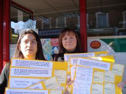 Cllr Chilvers & postmistress, Shereen, post petition at Warley Hill post office