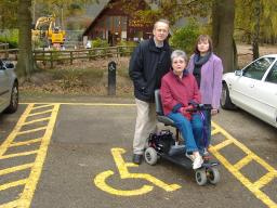 Cllr David Kendall & Cllr Karen Chilvers with disability rights campaigner Sue Higgins at Thorndon Country Park