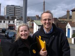 Lib Dem leader Cllr David Kendall with Nina Cutbush, candidate for Warley