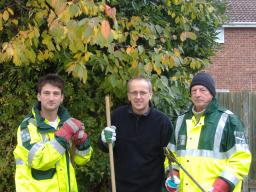 Lib Dems help residents in Pilgrims Hatch (L-R Mathew Aspinell, David Kendall, Barry Aspinell)