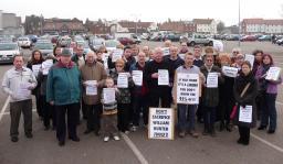 Lib Dem councillors with protestors at William Hunter Way