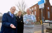 Cllr David Kendall, shop owner Nigel Clarke and Cllr Barry Aspinell.