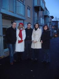 Cllrs David Kendall and Karen Chilvers with residents Christine Marquis, Alex Horlford and Katrina Daniels in a dark St James' Road