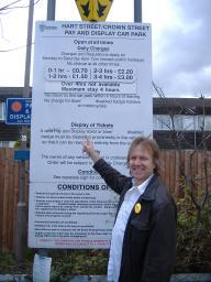 FLASHBACK: Lib Dem activist Nigel Clarke campaigns against the 2008 car parking charge increases