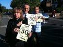 Cllr Karen Chilvers, Cllr David Kendall and Nigel Clarke campaign to slow down the traffic on London Road