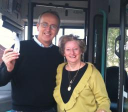 Cllr David Kendall with Wendy Way, Chair of the Brentwood Bus & Rail Users Association, at the launch of the Sunday Bus Service