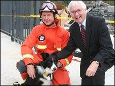 Darcy with handler John Ball and Lib Dem MP for Colchester, Bob Russell