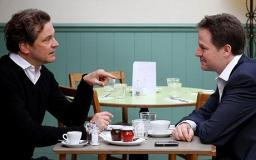 Nick Clegg with actor and human rights campaigner Colin Firth