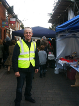 Cllr David Kendall marshalling at the Lighting Up Brentwood event