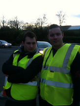 Cllrs James Sapwell and Ross Carter marshalling at the Lighting Up Brentwood event