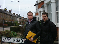 Cllrs Ross Carter and James Sapwell collecting signatures on Park Road