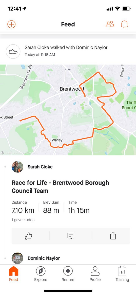 Sarah and Dominic's route around Brentwood ()